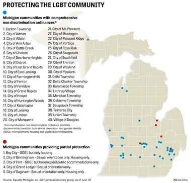 A map of municipalities in Michigan with non-discrimination ordinances for the LGBT community, as of June 30, 2016. Since then, Lake Orion and now Jackson can be added to the list.