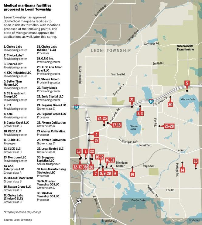 Township's 38 proposed medical marijuana facilities