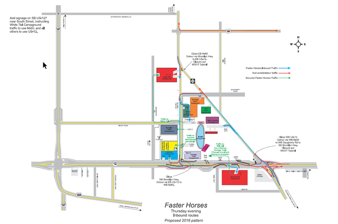 Traffic will be rerouted in a counter-clockwise direction on move-in day for the Faster Horses Festival.