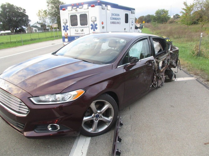 A Ford Fusion was sideswiped by a Chevrolet Tahoe, which crossed the center line in a Friday, Oct. 12 crash on M-50.