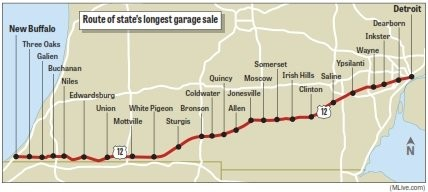 Let the treasure hunt begin at Michigan's Longest Garage ... Garage Sale Treasure Map on art treasure map, garage sale treasure chest, house treasure map, shopping mall treasure map, church treasure map,