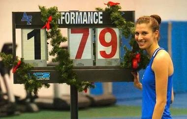 Rachel Herald, a senior at Air Force, set a school record in the high jump on Dec. 13 with a leap of 5-foot-10 1/2 (1.79 meters).