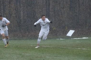 Calvin's Lucas Albrecht celebrates his opening goal in a 4-0 NCAA III Tournament win over Greenville Friday