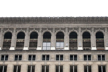 Two windows appear installed on the Michigan Central Train Station in Corktown. No word yet on whether it is part of owner's Matty Moroun's efforts to fix up the famous train station or some form of guerilla art. (Tanya Moutzlias | MLive.com)
