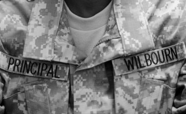 On Wednesday afternoon, the 4-foot-11 Wilbourn made an impression wearing head-to-toe camouflage with a 'Principle' patch on her left chest and 'Wilbourn' on her right. The former Army reservist made inspections on her new schoolâs JROTC classes, April 15. (Tanya Moutzalias | MLive.com)