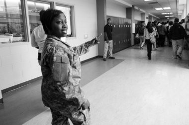Wilbourn looks to repeat her success at Mumford High School, which she has been principle of for less than two weeks. She is slowly getting to known the students. On Wednesday afternoon, the 4-foot-11 Wilbourn made an impression wearing head-to-toe camouflage The former Army reservist made inspections on her new schoolâs JROTC classes, April 15. (Tanya Moutzalias | MLive.com)