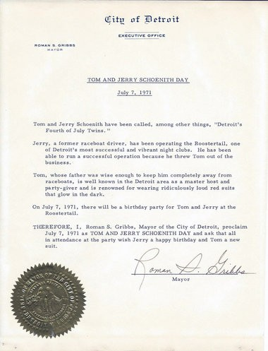 An executive order from then-Detroit Mayor Roman S. Gribbs proclaiming July 7, 1971 Tom and Jerry Schoenith Day (courtesy image).