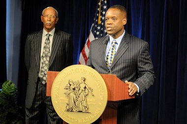Detroit Emergency Manager Kevyn Orr and Detroit Mayor Dave Bing address the press after an announcement that the city of Detroit is pursuing municipal bankruptcy, July 18, 2013.