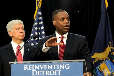 Detroit Emergency Manager Kevyn Orr addresses the media after taking the city into bankruptcy proceedings in this July 19, 2013 file photo.