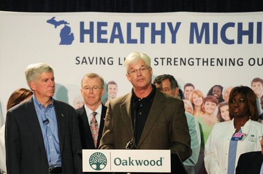 State Representative Mike Shirkey speaks before Gov. Snyder signs the Healthy Michigan bill into law at Oakwood Hospital and Medical Center in Dearborn, MI Monday, Sept. 16. (Tanya Moutzalias | MLive.com)