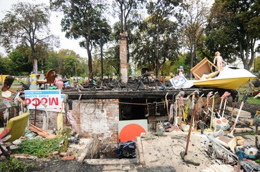 The OJ House at Tyree Guyton's Heidelberg Project in Detroit burned down Saturday morning for the second time since May, Oct. 5. (Tanya Moutzalias   MLive.com)