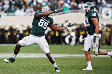 Michigan State defensive end Shilique Calhoun celebrates after a play during the fourth quarter of their Big Ten Conference game against Purdue on Saturday at Spartan Stadium in East Lansing.