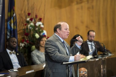 (Katie Bailey | MLive.com) Detroit Mayor Mike Duggan addresses attendees of the Devotion to Detroit Investiture Ceremony at the Coleman A. Young Municipal Center, Jan. 7, 2014. Duggan and members of the new City Council and Detroit Police Commission were sworn in during a ceremonial event Tuesday morning.
