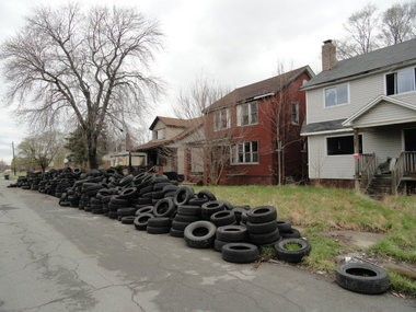 An estimated 10,000 tires removed from homes on Mapleridge by volunteers after city officials were made aware of the problem in late April.
