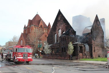 The First Unitarian Church of Detroit was gutted by an early Saturday morning fire. The Romanesque-style building at 2870 Woodward Ave. was built in 1889.