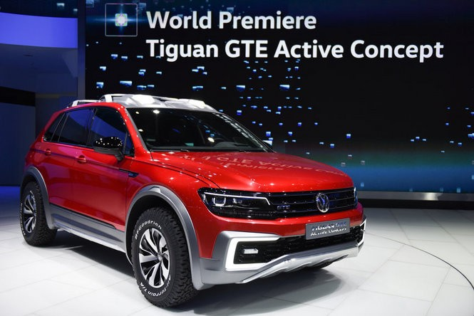 Volkswagen reveals the Tiguan GTA Active Concept at the North American International Auto Show during the first press preview day at Cobo Center in Detroit, Jan. 11, 2016. (Tanya Moutzalias | MLive Detroit)