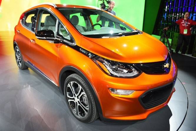 Chevrolet unveiled the 2017 Bolt electric vehicle and the Cruze hatchback midsize car Monday at the 2016 North American International Auto Show during the first Press Preview day at Cobo Center in Detroit, Jan. 11, 2016. (Tanya Moutzalias | MLive Detroit)