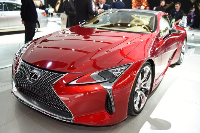 The Lexus LC 500 was revealed Monday at the 2016 North American International Auto Show during the first Press Preview day at Cobo Center in Detroit, Jan. 11, 2016. (Tanya Moutzalias | MLive Detroit)
