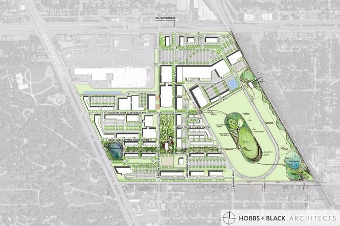 Rendering plan for the redevelopment of the former Michigan State Fairgrounds at Woodward Ave. between 8 Mile and State Fair Ave. in Detroit.