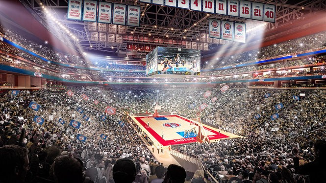 A rendering released Tuesday, Nov. 22, 2016 as the Detroit Pistons announced plans to back to Detroit, leaving the Palace of Auburn Hills behind. (Little Caesars Arena rendering courtesy of Olympia Development of Michigan)