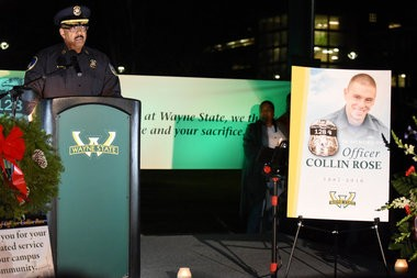 Wayne State University Police Chief Anthony Holt speaks during a gathering in the middle of the Detroit campus Tuesday evening to remember the life of Wayne State University Police Officer Collin Rose, Nov. 29, 2016. During the candle light vigil at 6:31 p.m., the time Rose was shot on duty last week, a moment of silence was held. Rose, 29, died last Wednesday, one day after he was shot in the head near Lincoln and Brainard a few blocks from the Wayne State University campus in Midtown Detroit after stopping a man on a bicycle. A 31-year-old man has been charged with first-degree murder in the shooting death of Rose. (Tanya Moutzalias | MLive Detroit)