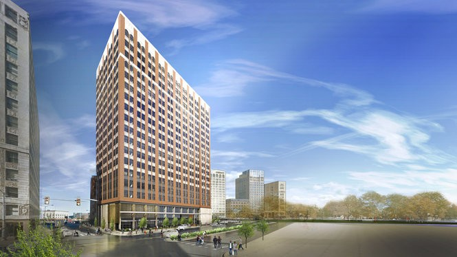 The 1920's-built, C. Howard Crane designed building at 150 Bagley in District Detroit will have 148 apartments and first-floor retail. Renovation is expected to begin in late 2017.