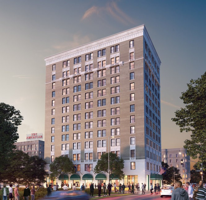This historic redevelopment, the former 1920s-constructed, Louis Kamper-designed Eddystone Hotel at 110 Sproat, will have 96 residential units and a scenic view of Little Caesar's Arena. Renovation is slated to begin in 2018.