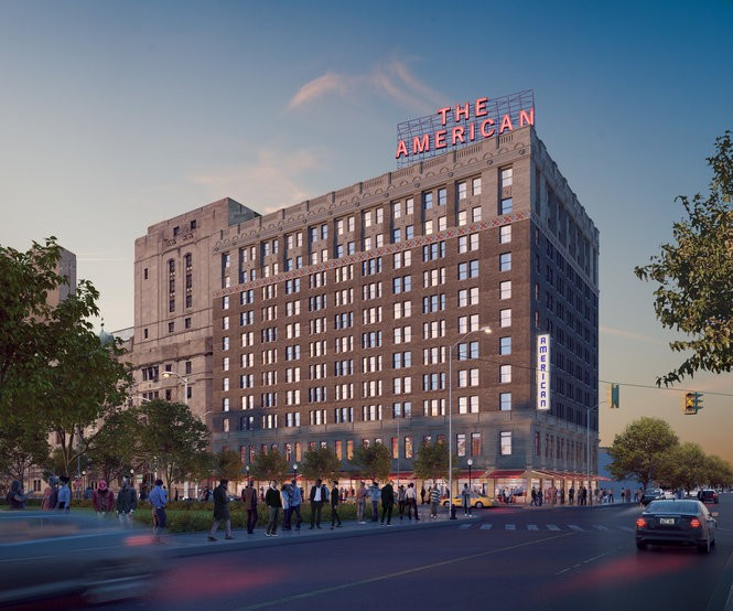Located at 408 Temple in what District Detroit refers to as Cass Park Village, the American originally served as a hotel when it was built nearly a century ago. The 11-story renovation will include 163 rentals and retail space. Construction is scheduled to begin in 2018.