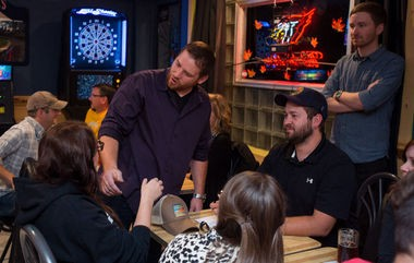 Matt Czerwinski chats with the MLive crew during the search for Michigan's Best Neighborhood Bar Thursday, Sept. 18, at Chet's Corner Bar, 1001 S. Madison Ave. in Bay City. (Yfat Yossifor | The Bay City Times)