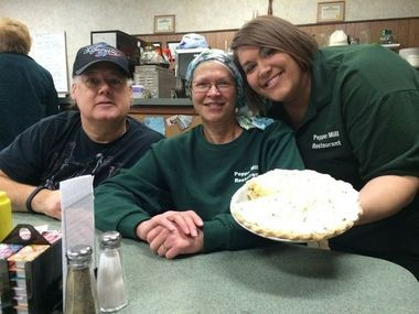 Left to right: Pepper Mill Restaurant owners Dan Mercer and Jean Mercer, and their daughter Laura Nickel welcomed MLive's John Gonzalez to the restaurant Friday, Nov. 14, during his search for Michigan's Best Pie.