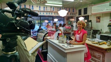 """""""The Steve Harvey Show"""" sent a film crew to capture the essence of Sweetie-licious Bakery Cafe in DeWitt. The """"Great American Food Fight"""" episode will feature Linda Hundt's apple pie on Nov. 24, 2014. Check local listings."""