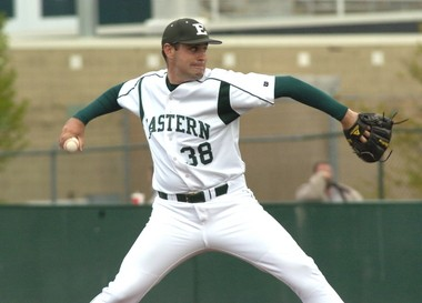Former Eastern Michigan University pitcher Matt Shoemaker throws during his time as an Eagle.