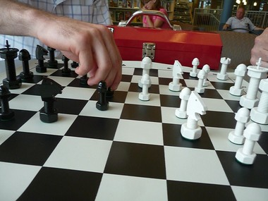 Chess pieces are hand made from regular hardware items by East Grand Rapids former machine shop owner.