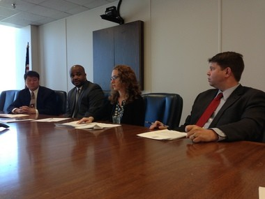 Sen. Bert Johnson (D-Detroit), second from left, answers questions from reporters during a press conference about the Education Achievement Authority on Tuesday in Lansing. Also pictured, from left, are Sen. Hoon-Yung Hopgood, Rep. Ellen Cogen Lipton and Rep. Brandon Dillon.