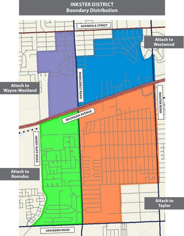 This map, provided by Wayne RESA, shows how students who formerly attended Inkster Public Schools will be divided among four other school districts.