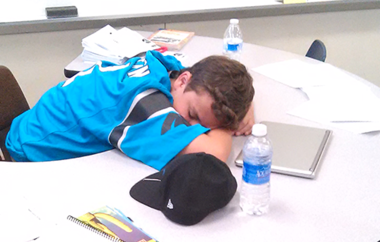 A student at a California high school with a 7:15 a.m. start time sleeps in class. (Courtesy of StartSchoolLater)