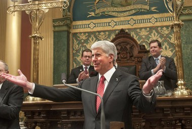 Gov. Rick Snyder at his recent State of the State address.