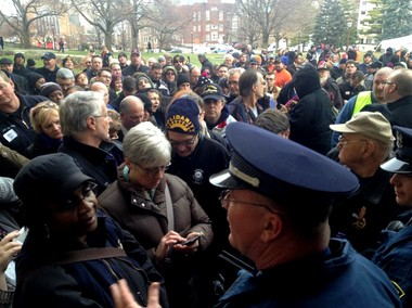 UAW President Bob King, AFL-CIO President Karla Swift and AFT President David Hecker were among union members shut out of the Michigan Capitol on Dec. 6, 2012.