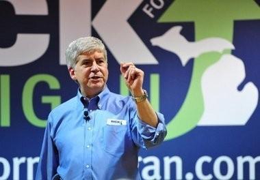 Michigan Gov. Rick Snyder on the campaign trail in 2010.