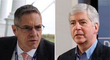Mark Schauer, left, Rick Snyder, right.