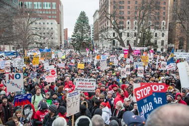 Thousands of protesters converged on the state capitol in December 2012 to oppose passage of right-to-work legislation. Photo credit: Anne Savage of the Michigan Democratic Party.