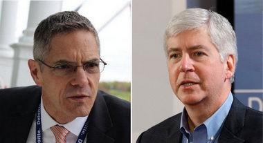 Democrat Mark Schauer, left, and Michigan Gov. Rick Snyder.