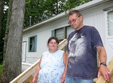 Randy and Delores Libey moved to a rented trailer in Lake County after child protective services workers warned they could lose custody of her daughter, because their former home had no heat or running water. (photo by Pat Shellenbarger)