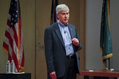 Gov. Rick Snyder faced his Democratic challenger at a town hall this week. (Photo by Elaine Cromie, MLive)