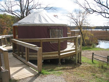 Yurts like this one at Pinckney Recreation Area northwest of Ann Arbor are growing in popularity.