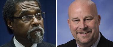 Former Flint Emergency Manager Darnell Earley, left, and Rep. Al Pscholka, R-Stevensville