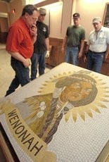 The Princess Wenonah mosaic is moved to its current home at the Bay County Historical Museum.