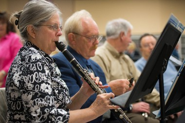 Nancy Bittner plays clarinet during a Bay Concert Band rehearsal.
