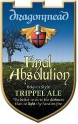 Logo of Dragonmead's Final Absolution, 8.5 percent alcohol by volume Belgian-style tripple.