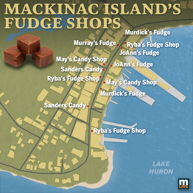 Your guide to Mackinac Island Fudge - mlive.com on bois blanc island map, saint joseph island map, lawrence island map, tahquamenon falls map, grand rapids map, michigan map, lake huron map, st. louis island map, raspberry island map, mackinaw city map, lake island map, ottawa island map, isle royale map, crespo island map, douglas island map, ionia island map, somerset island map, great lakes map, traverse city map, drummond island map,